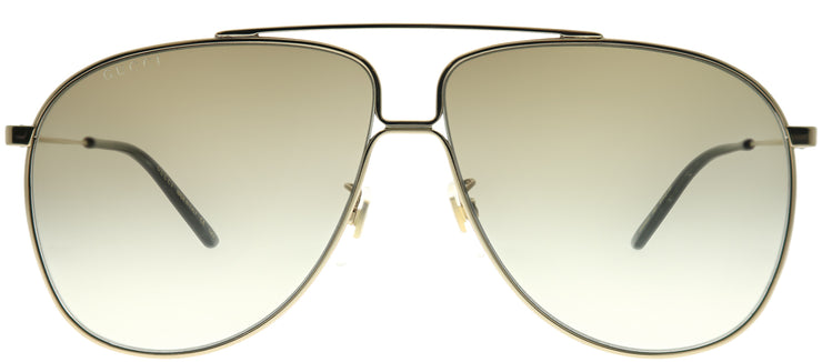 Gucci GG 0440S 003 Aviator Metal Gold Sunglasses with Brown Gradient Lens