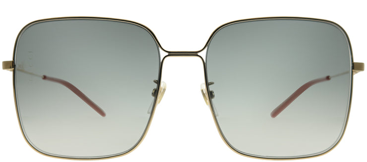 Gucci GG 0443S 001 Square Metal Gold Sunglasses with Grey Gradient Lens