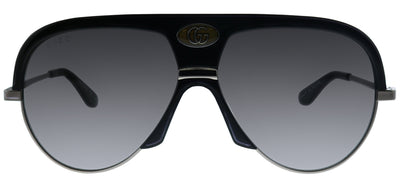 Gucci GG 0477S 002 Aviator Plastic Black Sunglasses with Grey Gradient Lens