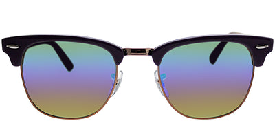 Ray-Ban RB 3016 1221C3 Clubmaster Plastic Purple Sunglasses with Green Rainbow Flash Lens