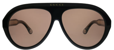 Gucci GG 0479S 001 Pilot Plastic Black Sunglasses with Brown Lens
