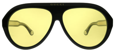 Gucci GG 0479S 002 Pilot Plastic Black Sunglasses with Yellow Lens