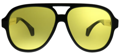 Gucci GG 0463S 001 Aviator Plastic Black Sunglasses with Yellow Lens
