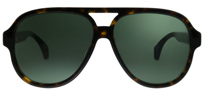 Gucci GG 0463S 003 Aviator Plastic Tortoise/ Havana Sunglasses with Green Lens