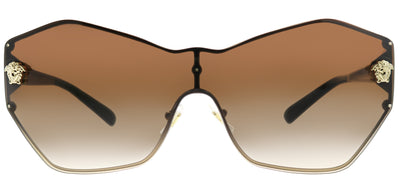 Versace VE 2182 125213 Geometric Metal Gold Sunglasses with Brown Gradient Lens