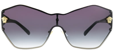 Versace VE 2182 12528G Geometric Metal Gold Sunglasses with Grey Gradient Lens