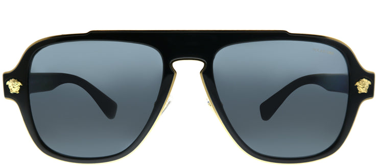 Versace VE 2199 100281 Aviator Plastic Black Sunglasses with Grey Polarized Lens