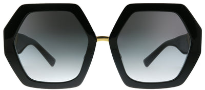 Valentino VA 4053 50018G Oversized Plastic Black Sunglasses with Grey Gradient Lens