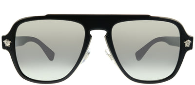 Versace VE 2199 10006G Aviator Plastic Black Sunglasses with Silver Mirror Lens