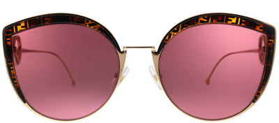 Fendi FF 0290 DDB Cat-Eye Metal Gold Sunglasses with Red Lens