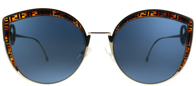 Fendi FF 0290 J5G Cat-Eye Metal Gold Sunglasses with Blue Lens