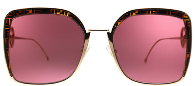 Fendi FF 0294 DDB Square Metal Gold Sunglasses with Red Lens
