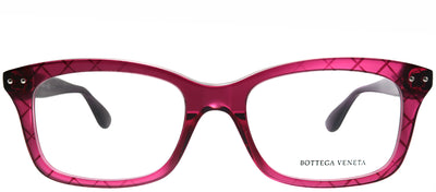 Bottega Veneta BV 0236O 004 Rectangle Plastic Burgundy/ Red Eyeglasses with Demo Lens