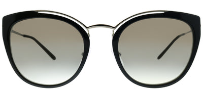 Prada PR 20US 4BK5O0 Cat-Eye Plastic Black Sunglasses with Silver Mirror Lens