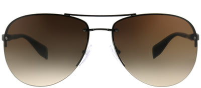 Prada Linea Rossa PS 56MS 5AV6S1 Aviator Metal Ruthenium/ Gunmetal Sunglasses with Brown Gradient Lens