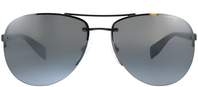 Prada Linea Rossa PS 56MS DG12F2 Aviator Metal Ruthenium/ Gunmetal Sunglasses with Silver Mirror Polarized Lens