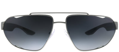 Prada Linea Rossa PS 56US 4495W1 Geometric Metal Grey Sunglasses with Grey Gradient Polarized Lens