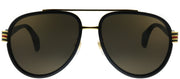 Gucci GG 0447S 003 Pilot Plastic Black Sunglasses with Brown Lens