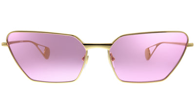 Gucci GG 0538S 005 Cat-Eye Metal Gold Sunglasses with Pink Lens