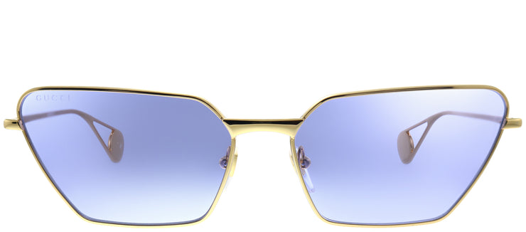 Gucci GG 0538S 006 Cat-Eye Metal Gold Sunglasses with Blue Lens