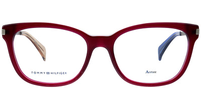 Tommy Hilfiger TH 1381 QEI Square Plastic Burgundy/ Red Eyeglasses with Demo Lens