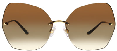 Dolce & Gabbana DG 2204 02/13 Geometric Metal Gold Sunglasses with Brown Gradient Lens