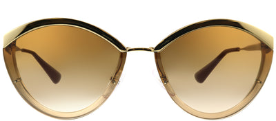 Prada PR 07US 726088 Oval Metal Gold Sunglasses with Brown Gradient Lens
