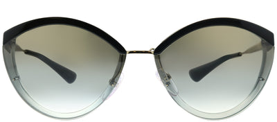 Prada PR 07US U435O0 Oval Metal Black Sunglasses with Silver Mirror Lens