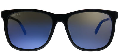 Gucci GG 0078SK 001 Square Plastic Black Sunglasses with Blue Mirror Lens