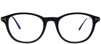 Tom Ford FT 5553-B 001 Round Plastic Black Eyeglasses with Blue Block Lenses