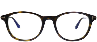 Tom Ford FT 5553-B 052 Round Plastic Tortoise/ Havana Eyeglasses with Blue Block Lenses