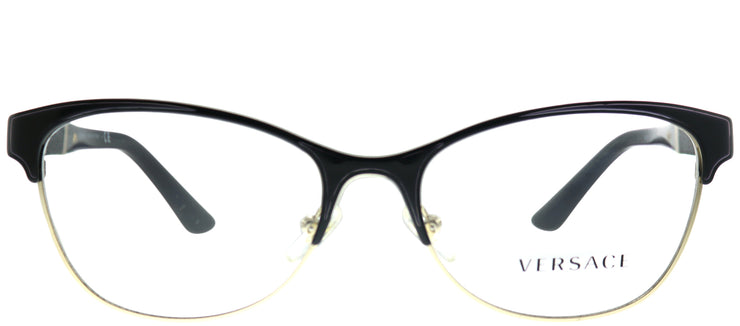 Versace VE 1233Q 1366 Cat-eye Metal Black Eyeglasses with Demo Lens