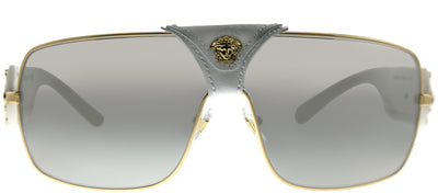 Versace VE 2207Q 10026G Square Metal Gold Sunglasses with Silver Mirror Lens