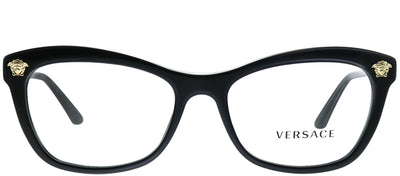 Versace VE 3224 GB1 Cat-eye Plastic Black Eyeglasses with Demo Lens