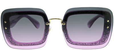 Miu Miu MU 01RS 101153 Square Plastic Purple Sunglasses with Violet Gradient Lens