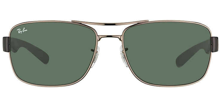 Ray-Ban RB 3522 004/71 Rectangle Metal Gunmetal Sunglasses with Green Lens