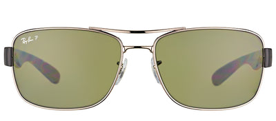 Ray-Ban RB 3522 004/9A Aviator Metal Ruthenium/ Gunmetal Sunglasses with Green Polarized Lens