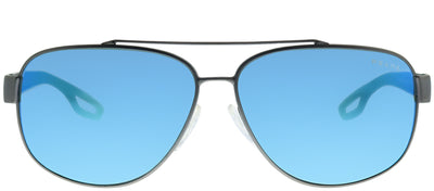 Prada Linea Rossa PS 58QS DG15M2 Aviator Metal Ruthenium/ Gunmetal Sunglasses with Blue Mirror Lens