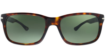 Persol PO 3048S 24/31 Rectangle Plastic Tortoise/ Havana Sunglasses with Crytal Green Lens