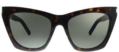 Saint Laurent SL 214Kate 006 Cat-Eye Plastic Tortoise/ Havana Sunglasses with Grey Lens