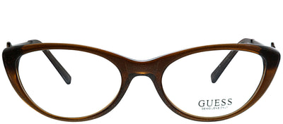 Guess GU 2257 Brn Cat-Eye Plastic Brown Eyeglasses with Demo Lens