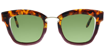 Salvatore Ferragamo SF 886S 207 Square Plastic Tortoise/ Havana Sunglasses with Green Lens