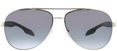 Prada Linea Rossa PS 53PS 1BC5W1 Aviator Metal Silver Sunglasses with Grey Gradient Polarized Lens