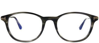 Tom Ford FT 5553-B 056 Round Plastic Grey Eyeglasses with Blue Block Lenses