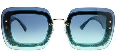 Miu Miu MU 01RS JZG5R2 Square Plastic Blue Sunglasses with Blue Gradient Lens