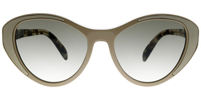 Prada PR 14US 02R5S2 Cat-Eye Plastic Beige Sunglasses with Brown Lens