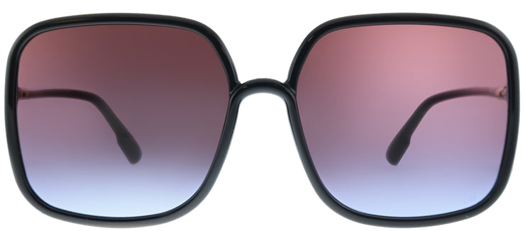 Dior SoStellaire 1 807 YB Square Plastic Black Sunglasses with Red Gradient Lens