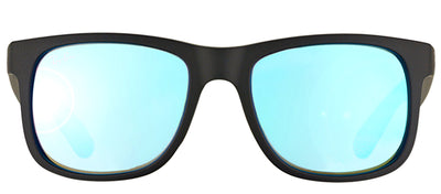 Ray-Ban Justin RB 4165 622/55 Square Rubber Black Sunglasses with Blue Mirror Lens