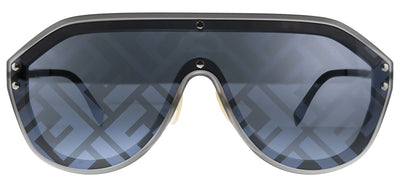 Fendi Men FF M0039/G V81 Shield Plastic Ruthenium/ Gunmetal Sunglasses with Grey Fendi Print Mirror Lens