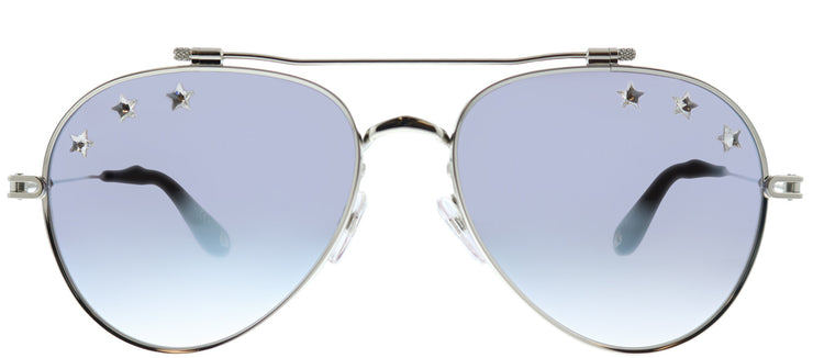 Givenchy GV 7057/N Stars GKZ Aviator Metal Silver Sunglasses with Blue Mirrored Gradient Lens